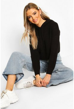 Knitted Hooded Cropped Jumper, Black