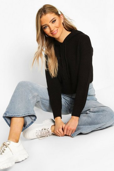 Black Knitted Hooded Cropped Jumper