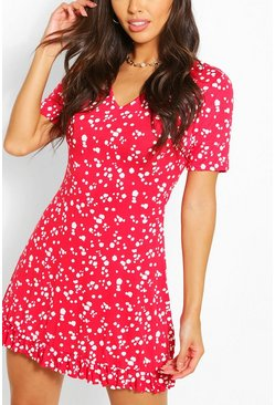 Red Splog Print V Neck Frill Hem Shift Dress