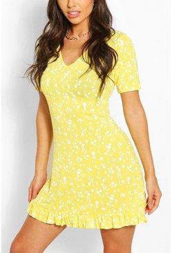 Yellow Splog Print V Neck Frill Hem Shift Dress