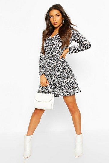 Black Ditsy Floral Long Sleeve Frill Hem Shift Dress