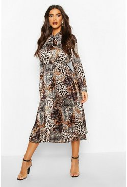 Satin Animal Print Pleated Tie Neck Midi Dress, Brown marrone