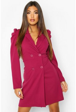 Raspberry pink Puff Shoulder Double Breasted Blazer Dress