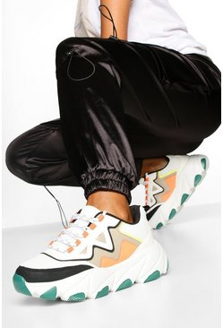 Contrast Sole Chunky Trainers, Green Серый