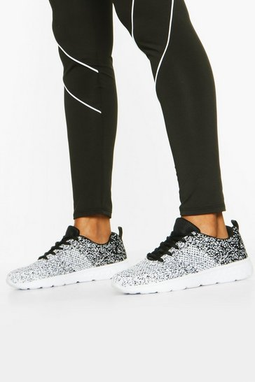 Black Speckle Knitted Running Trainers