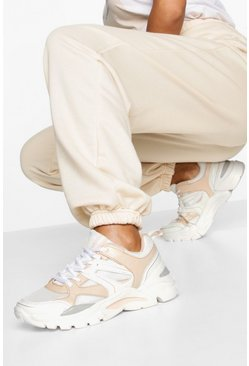 Mixed Panel Chunky Sole Trainers, Peach
