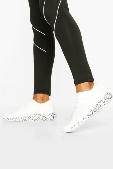 White Leopard Print Sole Knitted Sports Trainers