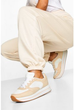 Natural beige Platform Retro Running Trainers