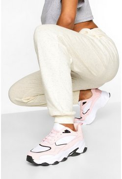 Contrast Sole Chunky Sports Trainers, Pink