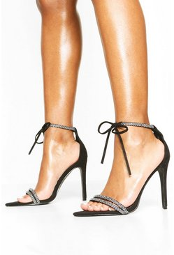 Black Embellished Tie Front 2 Part Heels