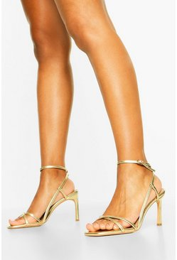 Wide Fit Strappy Heel Sandals, Gold metallic