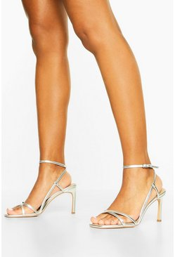 Silver Wide Fit Strappy Heel Sandals