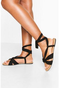 Tan Wrap Strap Basic Sandals