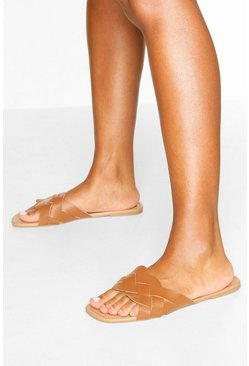 Tan brown Plait Strap Square Toe Sliders