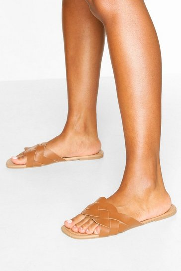 Tan Plait Strap Square Toe Sliders