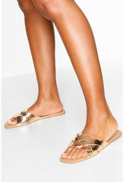 Metallic Plait Strap Square Toe Sliders, Rose gold metálicos