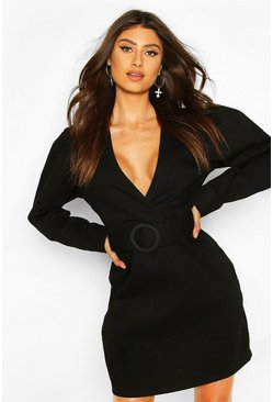 Black Belted Wrap Balloon Sleeve Denim Dress