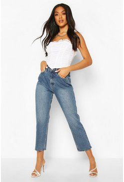High Rise Straight Leg Jeans, Mid blue Синий