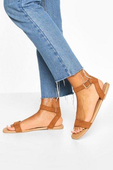 Tan brown Square Toe 2 Parts Basic Sandals