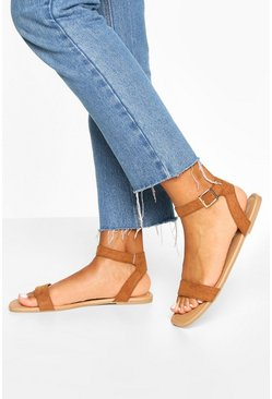 Tan brown Square Toe 2 Parts Basic Sandals