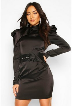 Black Extreme Shoulder Belted Mini Dress