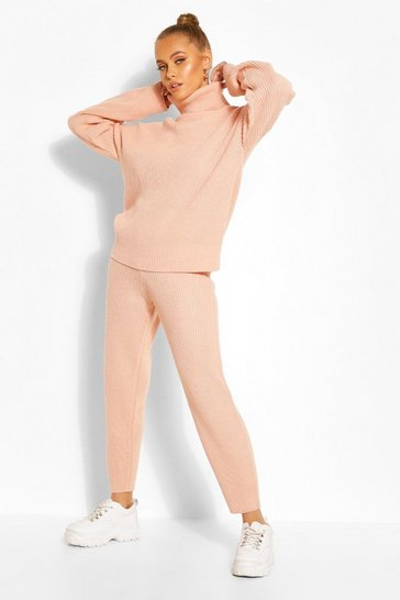 Blush pink Nude Turtle Neck Knitted Jogger Lounge Set