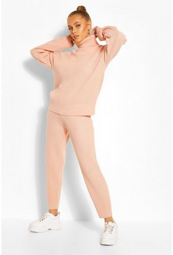 Blush pink Gebreid Trainingspak Met Turtle Neck