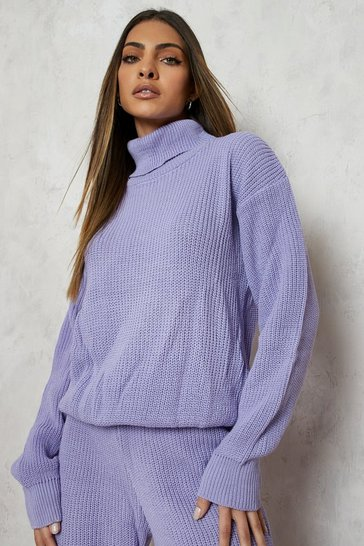 Lilac purple Purple Turtle Neck Knitted Jogger Lounge Set