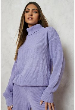 Lilac purple Turtle Neck Knitted Tracksuit