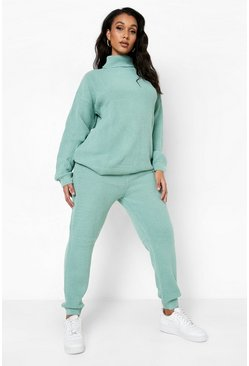 Sage green Turtle Neck Knitted Tracksuit