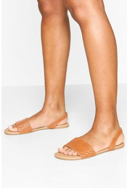 Tan brown Woven Sling Back Sandals