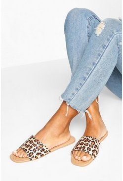 Leopard multi Square Toe Basic Sliders