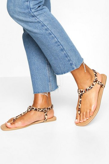 Leopard multi Square Toe Thong Sandals