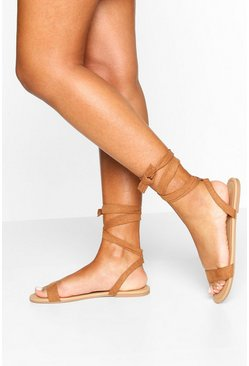 Tan brown Basic Wrap Sandals