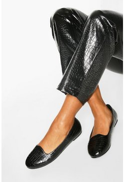 Black Basic Croc Slipper Ballets