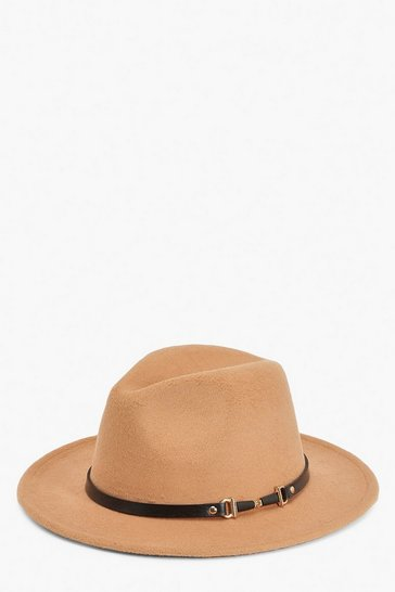 Caramel beige PU & Chain Detail Fedora Hat