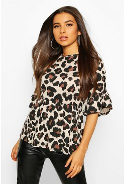 Tan brown Leopard Ruffle Sleeve Smock Top