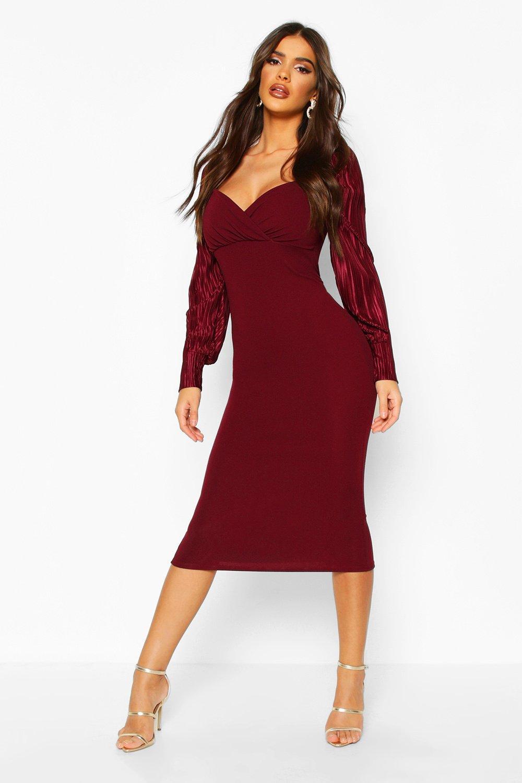 DRESSES Plisse Pleated Sleeve Wrap Detail Midi Dress