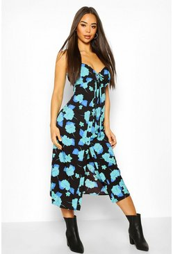 Black Woven Floral Tie Front Skater Dress