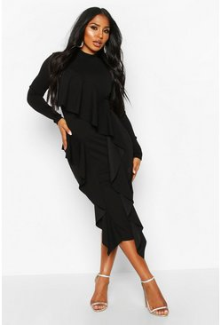 Black High Neck Ruffle Front Midi Dress