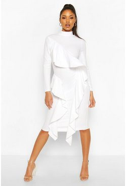 High Neck Ruffle Front Midi Dress, White bianco