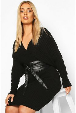 Plus Wrap PU Obi Belt, Black negro
