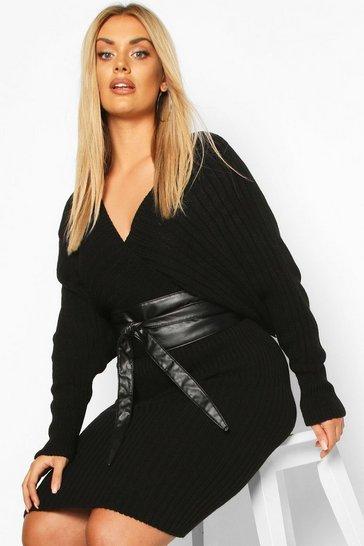 Black Plus Wrap PU Obi Belt