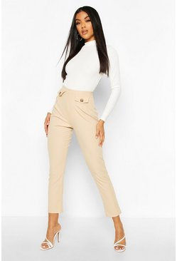 Stone beige Ribbed Pocket Trouser