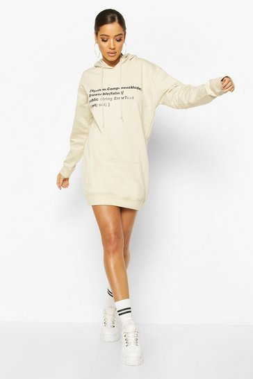 Sand beige Woman Sleeve Print Graphic Hoodie Dress