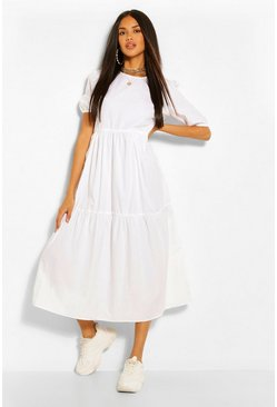 White Cotton Tiered Midi Smock Dress