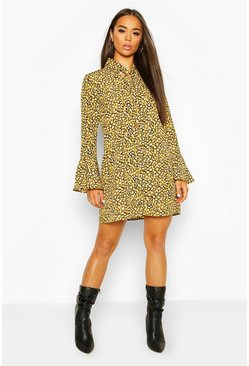 Lime green Animal Print Pussy Bow Shift Dress