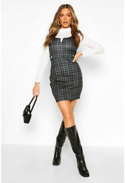 Bottle green green Check Button Detail V Bar Pinafore Dress