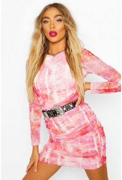 Gerafftes Bodycon-Minikleid aus Mesh in Batik-Optik, Rosa