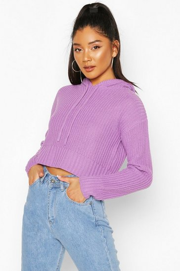 Violet Knitted Hooded Crop Jumper